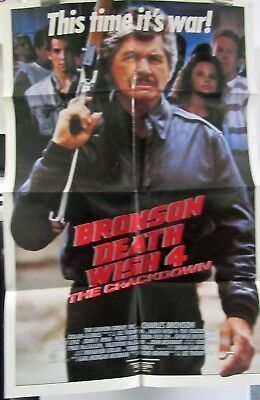 Death Wish IV Charles Bronson folded American 1sht home video movie poster