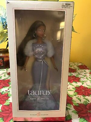 2004 Barbie Collector Zodiac Taurus African American Doll Pink Label. New