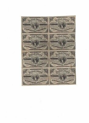FR 1226 Fractional Currency 8 note sheet
