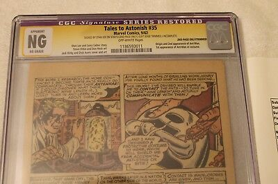 Stan Lee signed CGC SIGNATURE SERIES Tales to Astonish #35 autographed Pages 3&4