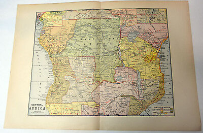 "1890s Antique ORIGINAL 15"" Map Central Africa Free Congo German Protectorate"