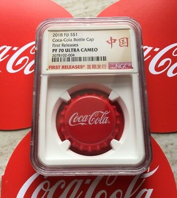 NGC PF70 2018 Fiji Coca-Cola Bottle Cap $1 6g Silver Proof Coin First Release