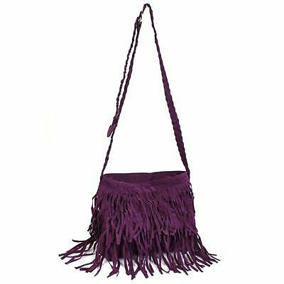 Vintage Hippie Faux Suede Fringe Tassel Messenger Bag Women Hobo Shoulder Bag MA