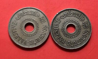 1934-Palestine-2 Rare Coins Of 20 Mils Silver Coin.......good Opportunity.