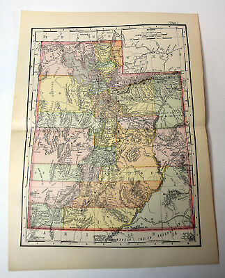 "1890s Antique ORIGINAL 14"" Map Utah American US State"