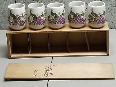 Vintage Kutani Peacock Tea Cups   Full Set Original Wooden Box