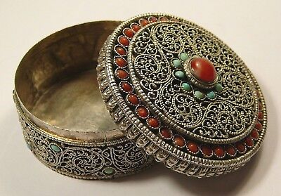 Imperial Russian 84 Silver Pillbox Turquoise Coral St. Petersburg 1869