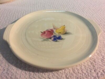"""Knowles Utility Ware Fruits 10"""" Handled Cake Plate Excellent"""