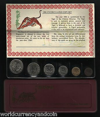 Singapore 1 5 10 20 50 $1 1986 Year Tiger Unc Commemorative Mint Coin Set In Box