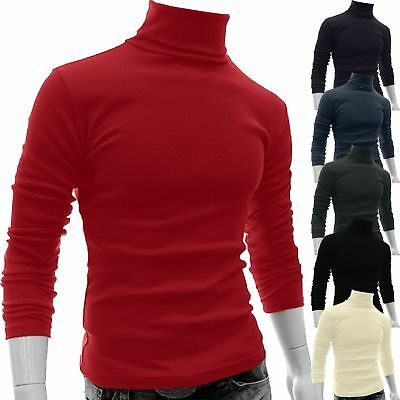 Men's High Roll Turtle Neck Pullover Knitted Jumper Sweatshirt Tops Blouse Warm