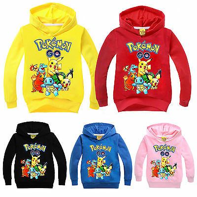 Pokemon Pikachu Kids Unisex Hoodies Sweatshirt Hooded Pullover Jumper Tops Coat