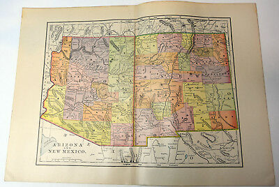 "1890s Antique ORIGINAL 14"" Map Arizona New Mexico American US States"