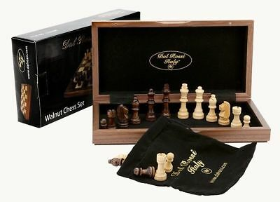 Folding Inlaid Walnut Chess Set 30cm Dal Rossi Italy - New