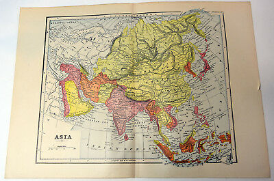 "1890s Antique ORIGINAL 14"" Map Asia View Chinese Empire India Persia"