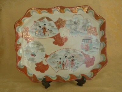 Antique Hand Painted Japanese Porcelain Tray Signed Tashiro (田代) Late Meiji