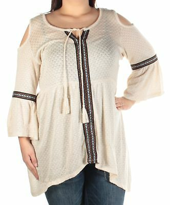 AMERICAN RAG $60 Womens New 1594 Ivory Textured Top 1X B+B