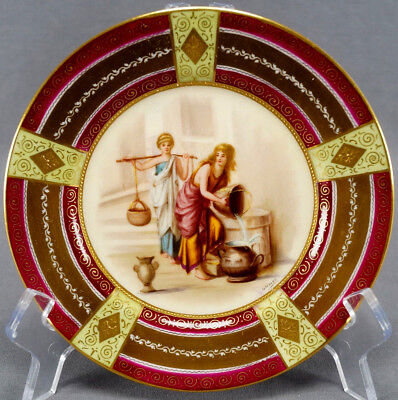 Royal Vienna Style Hand Painted Signed Ullnior Greek Women At Well Dessert Plate