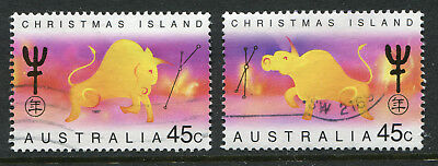 1997 Christmas Island.  Chinese New Year.  Year of the Ox.  Full set of 2 USED.