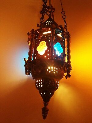 """ANTIQUE MOROCCAN ORNATE 24"""" HANGING Pierced BRASS Glass MIDDLE EAST Hex LANTERN"""