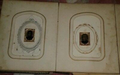 "Antique, Victorian, Vintage Photo Album Of Over 20 Tintype Ect. Mini  3/4"" X 1"""