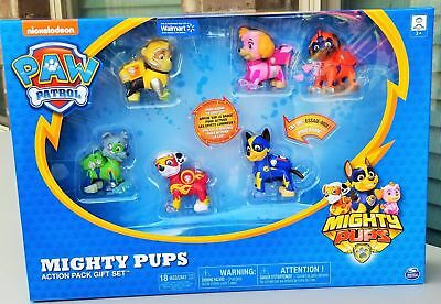 Paw Patrol Mighty Pups Action Pack Gift Set - 6 Pack Set with Light Up Badges