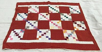 "Antique Late 19th Century Quilt or for Restoration 72"" x 66"""