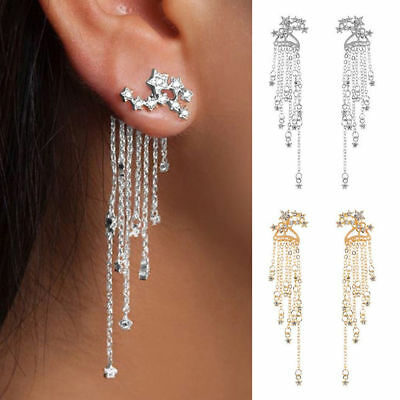 Hot Shooting Star Rhinestone Long Tassels Drop Hook Dangle Earrings Gold Silver