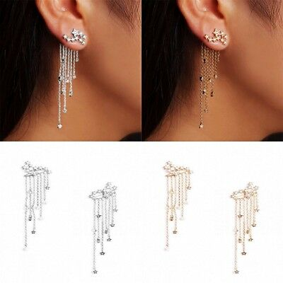 Fashion Star Tassel Dangle Ear Jacket Women Jewelry Cocktail Banquet Earrings