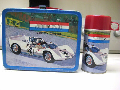 VINTAGE 1967 AUTO RACE METAL LUNCH BOX and THERMOS; Good Condition; Ex. Thermos!