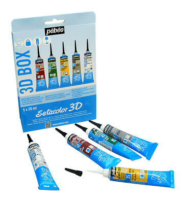 Pebeo Setacolor 3D Hierro Fix Permanente Pintura para Tela Box Set 5 X 20ml