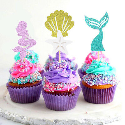 24Pcs Mermaid Cupcake Toppers & Wrappers Party Supplies Glitter Design MA