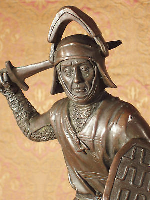 * Rare Bronze Metal Statue on Stone Medieval Middle Ages Knight Guard Fighter