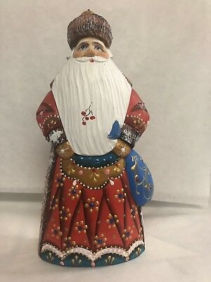 Russian figure Santa Claus hand made from wood , painted by Russian artist