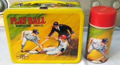 Vintage 1969 Metal PLAY BALL Lunchbox w/Thermos & Original Game Pieces/Spinner
