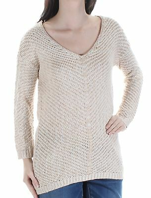 AMERICAN RAG $60 Womens New 1245 Beige Frayed Long Sleeve Top S Juniors B+B