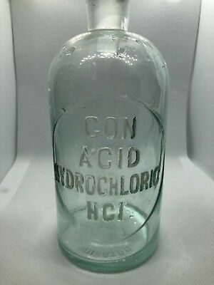 Vtg Antique Small Clear Glass Apothecary Chemist Bottle Jar Hydrochloric Acid