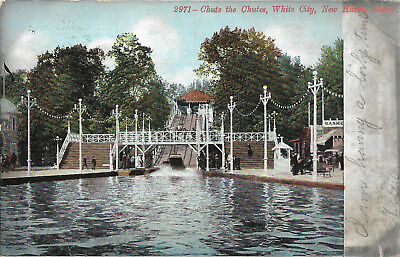 UDB postcard 1907, Chute the chutes , White city water park, New Haven, CT