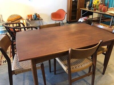 Mid Century Drexel Declaration Walnut Dining Table Set - 2 Leafs - 4 Chairs