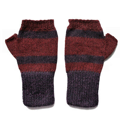 100% Alpaca Wool Fingerless Mittens Purple Burgundy XS ~ Women Men Accessories
