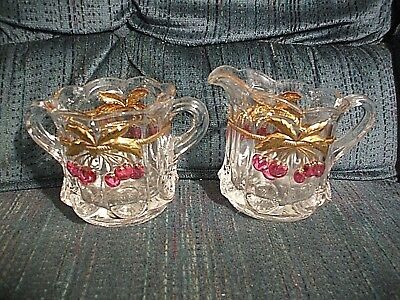 Beautiful Red Cherry with Gold Trim Creamer and Sugar Bowl Set (5 pieces)