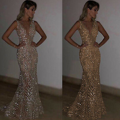 Women Bodycon Sequin Maxi Dress Plunge V Neck Evening Cocktail Ball Gown Dresses