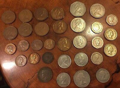 Vintage Great Britain UK Coin Lot Shillings Farthing Half Penny New Pence Pound