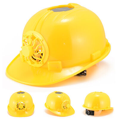 Yellow Ultimate Solar Energy Cooling Fan Safety Protect Helmet Hard Hat Cap