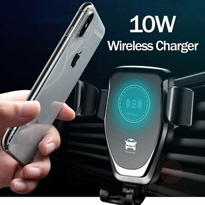 Qi Wireless Charger Car Charging Phone Mount Holder For iPhone X 8 Samsung Note9