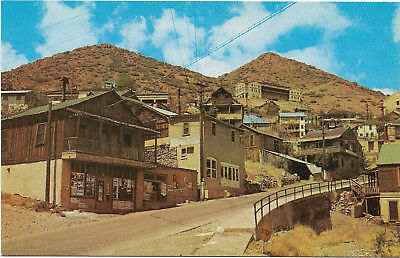 Vintage chrome postcard, street view of largest ghost town in US, Jerome, AZ