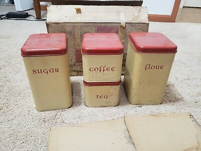 Harvell Space Saver 5pc Tin Canister Set Antique Collectible