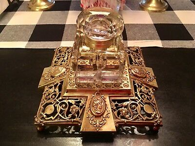VINTAGE  INK WELL   Crystal Glass With Brass Base
