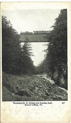 UDB postcard 1907, Woodstockrail road bridge over Quechee Gulf, Deweys Mills, VT