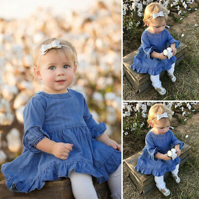 Toddler Infant Baby Girls Ruffles Flrae Sleeve Solid Denim Princess Dress Outfit