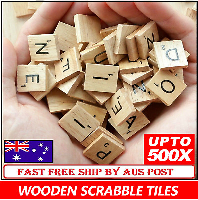 Wooden Letters Alphabet Scrabble Tiles Black Letters & Numbers For Crafts Wood